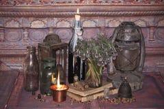 不可思议咒语 Wiccan咒语和草本 库存照片