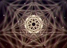 不可思议的七边形标志传播在精神空间的发光的神秘的能量 库存例证