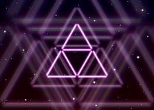 不可思议的三角标志传播在精神空间的发光的神秘的能量 向量例证
