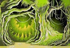 不可思议的传说森林背景 图库摄影