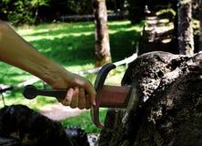 不可思议的剑Excalibur和胳膊 库存图片