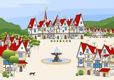 不可思议的动画片中世纪镇 免版税库存照片