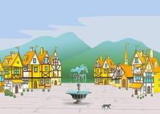 不可思议的动画片中世纪镇 免版税库存图片