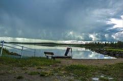 不可思议的北瑞典边界witn芬兰 库存照片