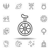不可思议的单轮脚踏车运输概述象 不可思议的例证线象的元素 标志,标志可以为网,商标,机动性使用 皇族释放例证