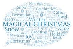 不可思议的圣诞节词云彩 向量例证