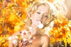 不可思议的在叶子的金子秋天白肤金发的女孩画象 库存照片