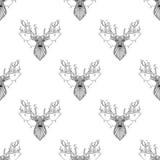 不可思议的在zentangle样式的驯鹿无缝的样式 免版税图库摄影