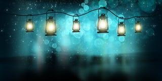 不可思议的夜灯笼 摘要 库存例证