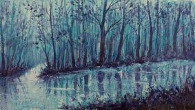 不可思议的小河 神秘的森林Impasto艺术品的河 库存图片