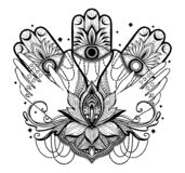 不可思议的护符宗教亚洲人和手,莲花 r 蝴蝶飞蛾坛场例证 皇族释放例证