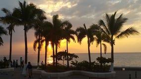 不可思议的日落在巴亚尔塔港 库存图片