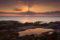 不可思议的日落斯蒂芬斯港澳大利亚 库存图片