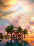 Magical sunset, Maldives resort 免版税库存图片
