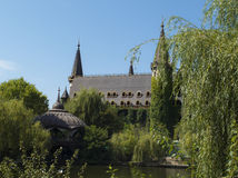 不可思议的湖宫殿,有一座高塔的 库存照片