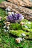 不可思议的烧瓶和紫色的石头在鲜绿色青苔在森林万圣夜题材 巫术和草药医术学 库存照片