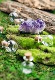 不可思议的烧瓶和紫色的石头在鲜绿色青苔在森林万圣夜题材 巫术和草药医术学 图库摄影