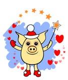 不可思议的猪圣诞老人,与不可思议的鞭子和心脏的滑稽的猪,在透明背景,假日例证,冬天,动画片分离 皇族释放例证