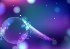 不可思议的眨眼睛Bokeh抽象背景,彗星的星幻想模糊的泡影空气闪耀移动的紫罗兰色星系和空间 皇族释放例证