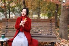 不可思议的秋天、愉快秋天的妇女和极乐,美丽的妇女坐一条长凳在秋天公园 库存照片