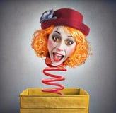 不可思议的箱子小丑 免版税库存图片