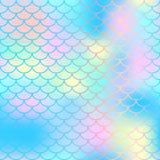 不可思议的美人鱼尾巴背景 与鱼鳞网的五颜六色的无缝的样式 蓝色桃红色美人鱼皮肤表面 库存例证