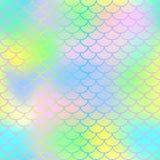不可思议的美人鱼尾巴背景 与鱼鳞网的五颜六色的无缝的样式 向量例证