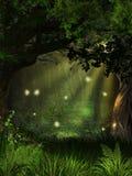 不可思议的萤火虫森林 库存图片