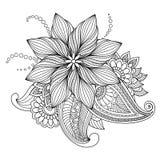 不可思议的被画的花和植物装饰的 库存照片