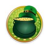 不可思议的金壶和妖精帽子 庆祝St Patricks天标志 库存例证
