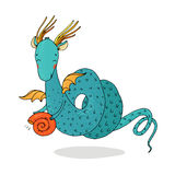 不可思议的龙和壳在白色背景 免版税库存图片
