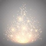 不可思议的轻的传染媒介作用 焕发特技效果光、火光、星和爆炸隔绝了火花 免版税库存照片