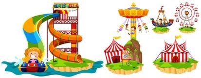 不同的乘驾在主题乐园 向量例证