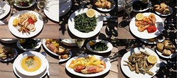 不同的五个海鲜盘拼贴画,可口希腊烹调,健康地中海午餐概念一道蔬菜沙拉  图库摄影