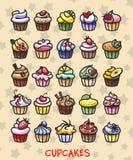 不同的五颜六色的可口杯形蛋糕 向量例证