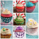 不同的五颜六色的杯形蛋糕拼贴画  库存照片