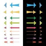 不同的五颜六色的箭头的套 库存图片