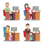 不同的人工作在办公室传染媒介集合的字符妇女和人 库存例证