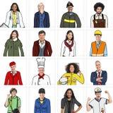 不同的人画象用不同的工作的 库存照片