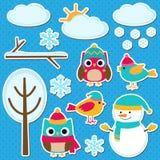 不同的冬天元素 免版税图库摄影