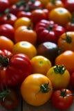 不同的品种蕃茄在木背景的 库存照片