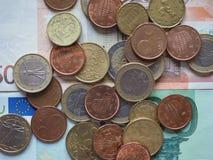 不同的国家发布的欧洲硬币 免版税图库摄影