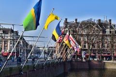 不同的国家旗子在海牙,荷兰 免版税库存图片