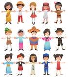 不同的国家的孩子 免版税库存照片