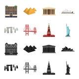 不同的国家视域染黑,在集合汇集的动画片象的设计 著名大厦传染媒介标志股票网 免版税库存照片