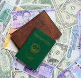 不同的国家许多钞票有护照的 库存图片