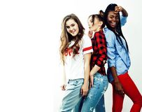 不同的多国家女孩小组,少年朋友公司cheerf 库存照片