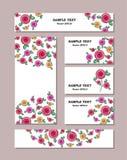 不同的大小的花纹花样与风格化玫瑰的,与美丽的玫瑰花束  对浪漫和复活节设计, 皇族释放例证