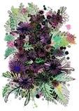 不同的大小美丽的野花  免版税库存照片