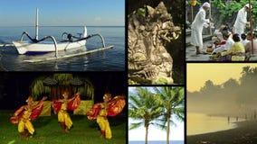 不同的夹子蒙太奇有巴厘岛,印度尼西亚典型的看法和音乐  免版税库存图片